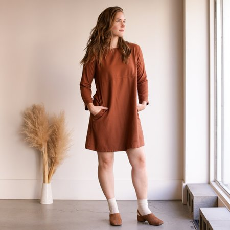 Me and Arrow Mid Sleeve Dress - Brown Flannel