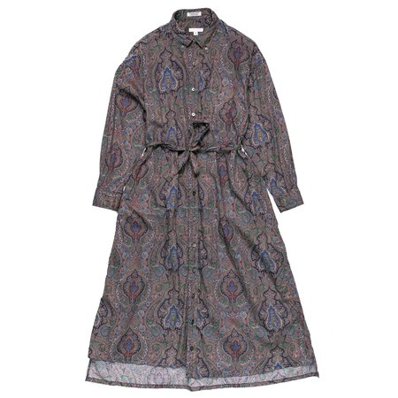 Engineered Garments Cotton BD Shirt Dress - Grey Paisley Print