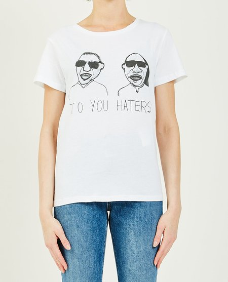 unfortunate portrait BLIND TO YOU HATERS TEE - white