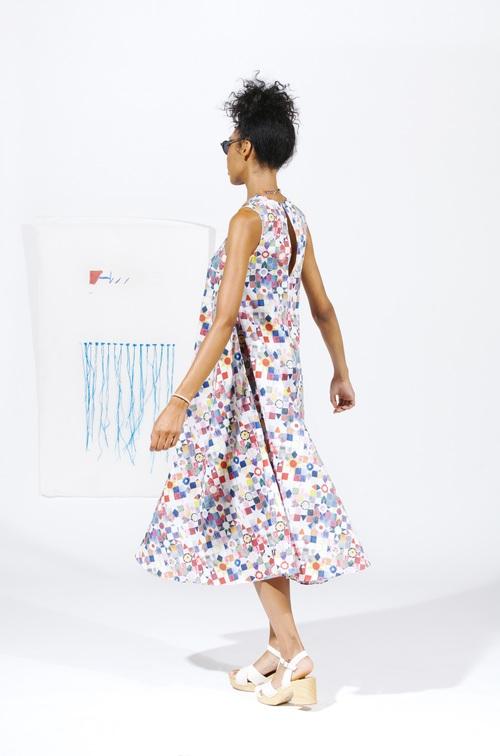Gore Midi Dress - Quilt Print