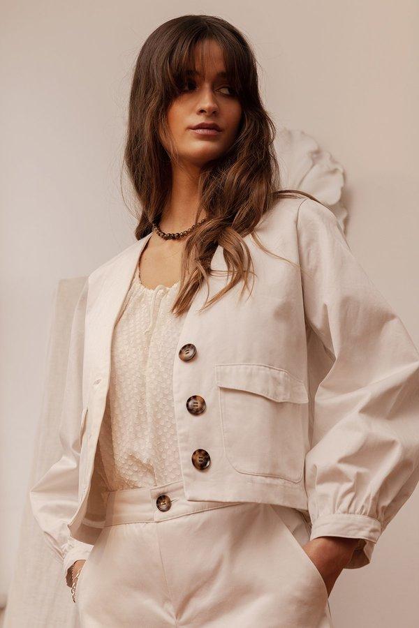 BEFORE MARCH Greta crop jacket - white