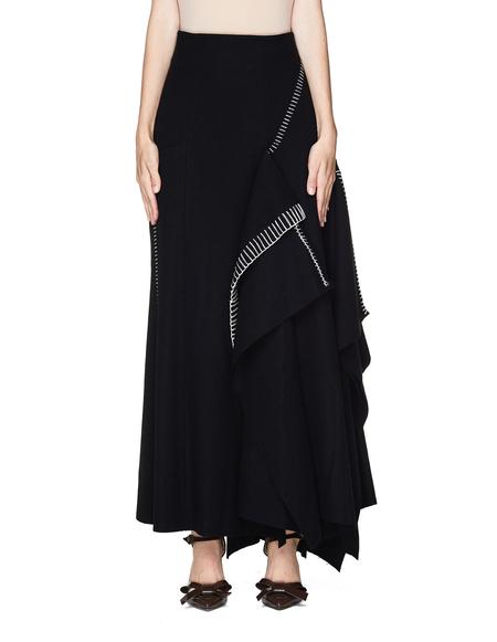 Yohji Yamamoto Asymmetric Stitch Wool Skirt - Black