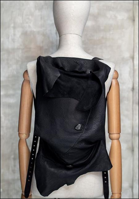 Claudio Cutuli Metal Button Detail Leather Backpack