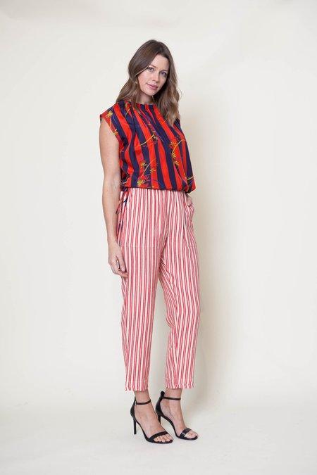 Raquel Allegra Kimono Silk Gathered Neck Top - Floral Stripe