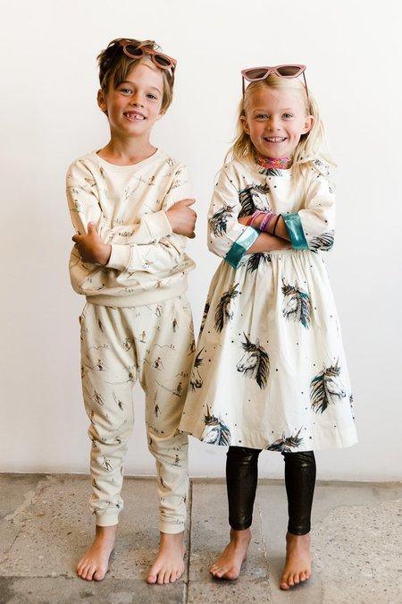 kids Pink Chicken Olive Dress - Antique White Unicorn
