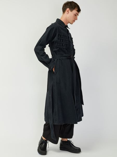 Unisex Bernhard Willhelm Lattice Trench - Washed Black