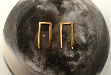 MDG Gold Broken Square Earrings