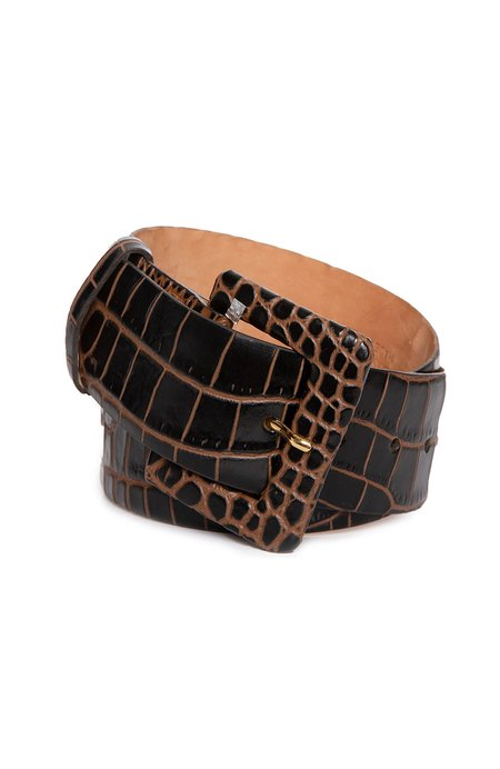 W. KLEINBERG Embossed Crocodile Belt with Covered Buckle - Cocoa Brown