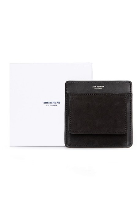 RON HERMAN Small Suede Card Case - BLACK