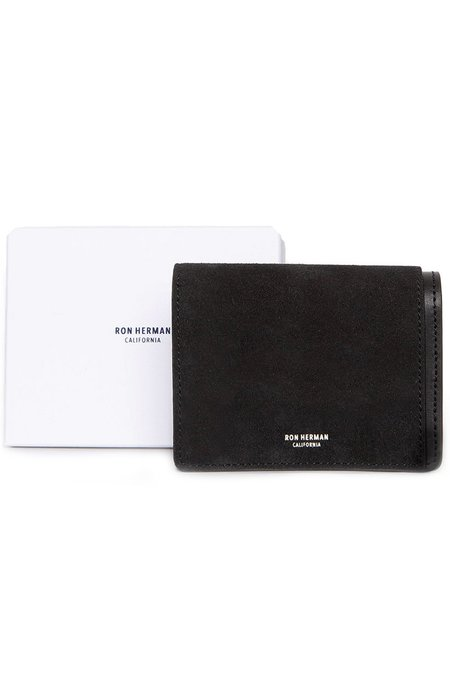 RON HERMAN Medium Suede Card Case - Black