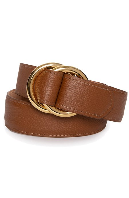 W. KLEINBERG Pebbled Calf Belt with O Ring - Cognac