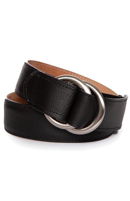 W. KLEINBERG Pebbled Calf Belt with O Ring - Black
