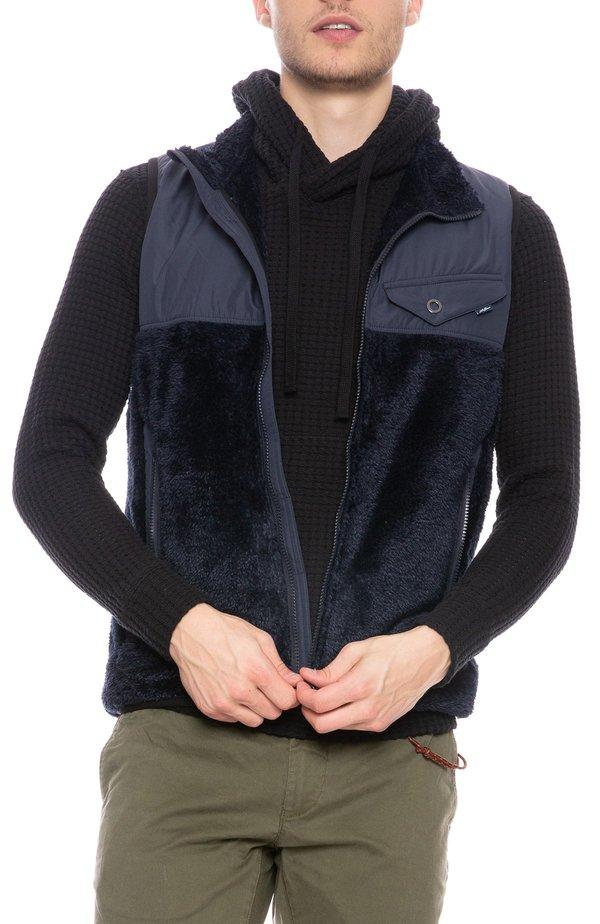 Seagreen Wobbla Nylon Fuzzy Vest - NAVY