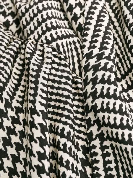 PETAR PETROV Dallas Long Sleeve Asymmetric Dress - Black/Ivory Check