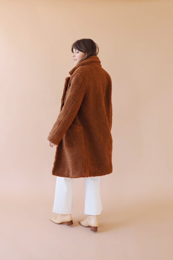 ASTR The Label Fuzzy Freddie Coat - Brown