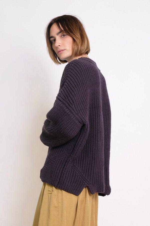 Micaela Greg Notched Hem Sweater - Lapis