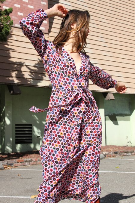 JONATHAN COHEN Long Sleeve Robe Dress - Pink Floral