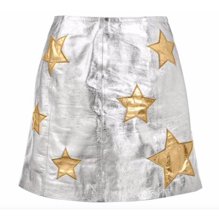 Harper Hallam When The Stars Align Leather Mini Skirt - Silver/Gold