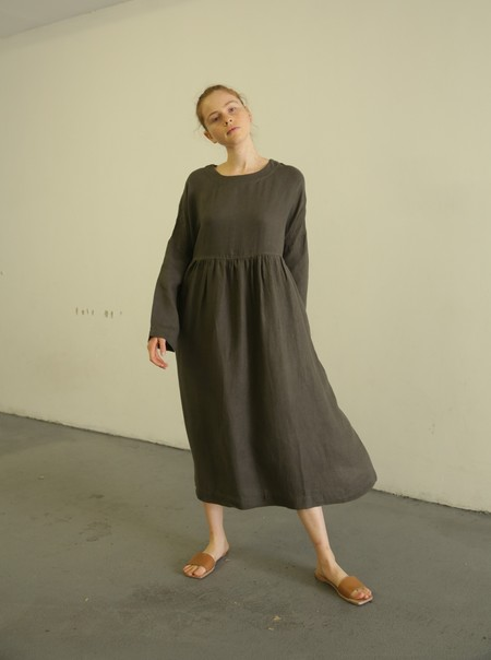 ICHI ANTIQUITES 500306 LINEN DRESS - CHARCOAL