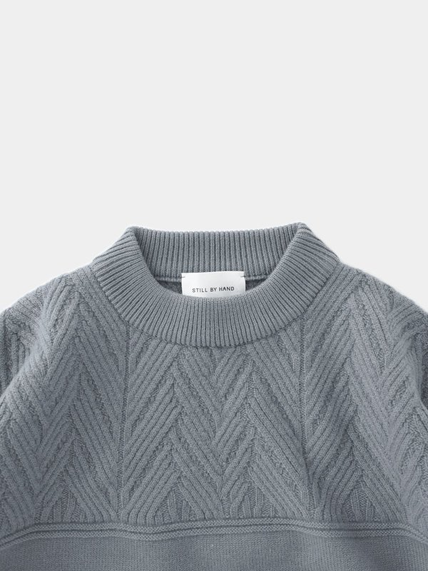 Still By Hand Mock Neck Lamb Knit - Blue Grey