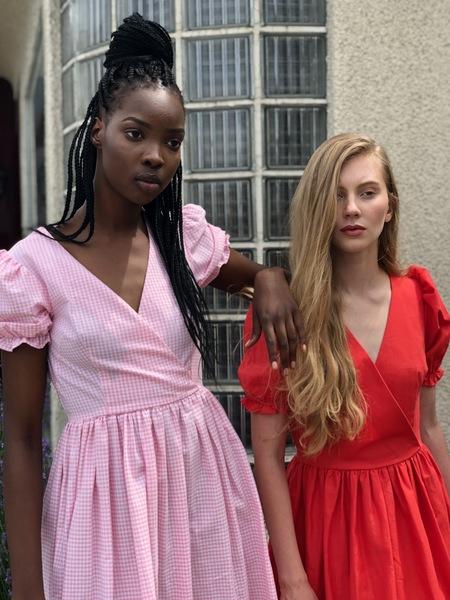 Lisa Says Gah Gingham Midi Dress - Pink