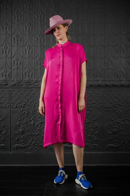 Priory Placket Dress - fuchsia