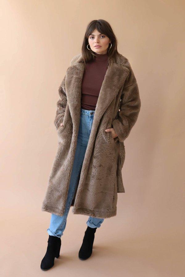 Moon River Tie Waist Faux Fur Coat - Taupe
