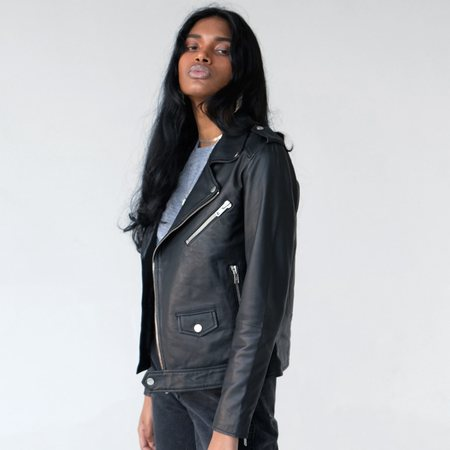 Deadwood River Recycled Leather Jacket - Black