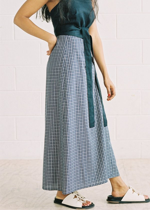FME Apparel Fortuna Wrap Skirt - Navy Check