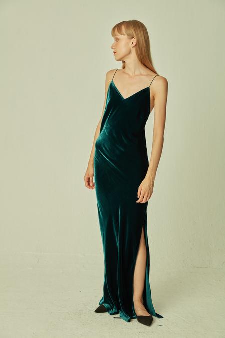 SANGLUO Velvet Maxi Dress - Green