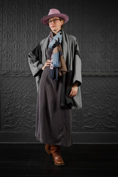 Atelier Delphine Patched Boa Haori Coat - Mixed Greys