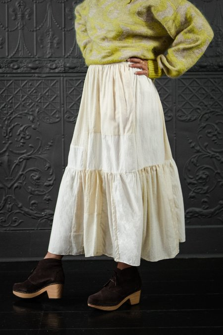 Mixed Color Patch Craft Skirt - Cream