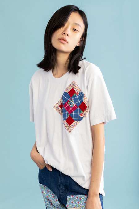 Unisex Carleen Diamond Chest Patchwork Tee - White