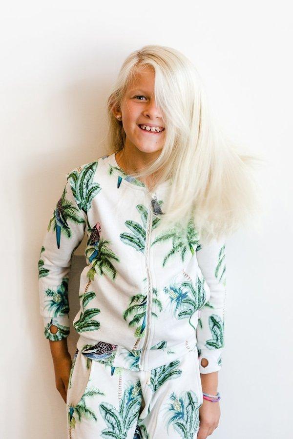 KIDS Munster Kids Tropic Bloom Bomber Jacket - Oatmeal Marle