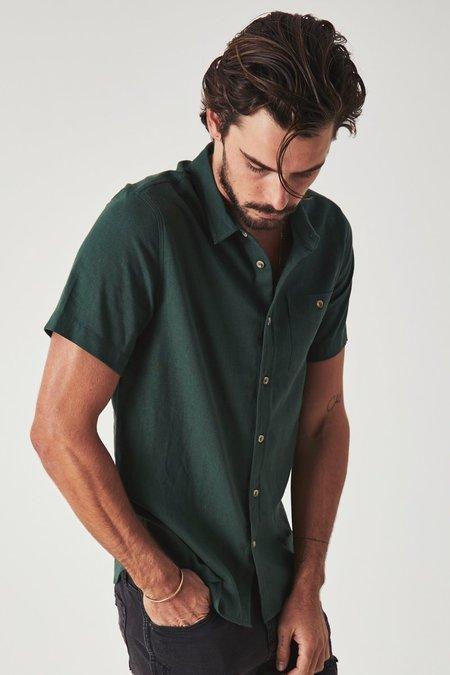 Rollas Men at Work Linen Shirt - Dark Green