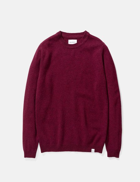 Norse Projects Sigfred Lambswool Knit Sweatshirt - Mulberry Red