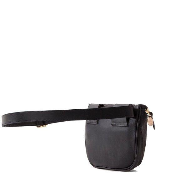 Clare V. Fannypack - Black Velvet Leather