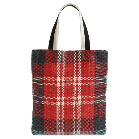 Clare V. Carryall - Red/White Woven Leather