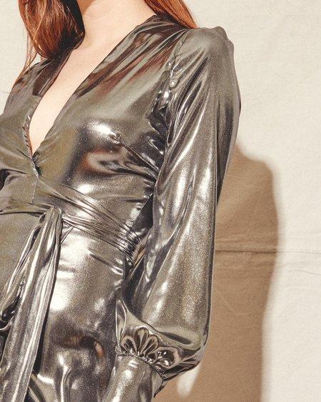 Kamperett Adelaide Midi Wrap Dress - Silver
