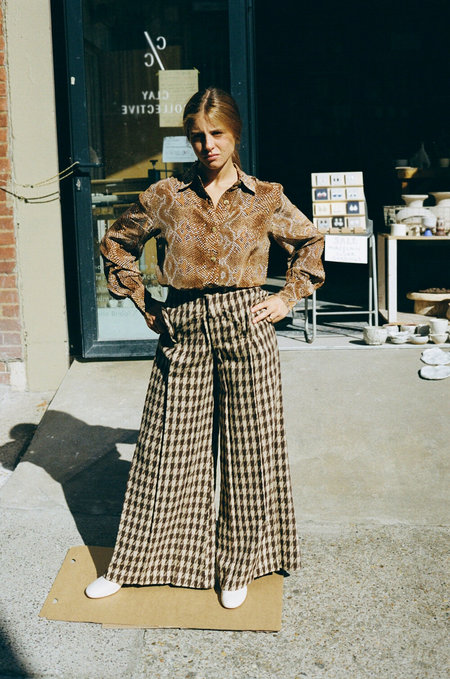 House of Sunny Ercol Wide Leg Trouser - Rich Mahogany Houndstooth