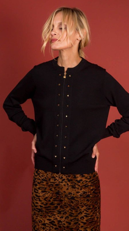 D.Exterior Cardigan with Zipper and Pyramid Studs - Black