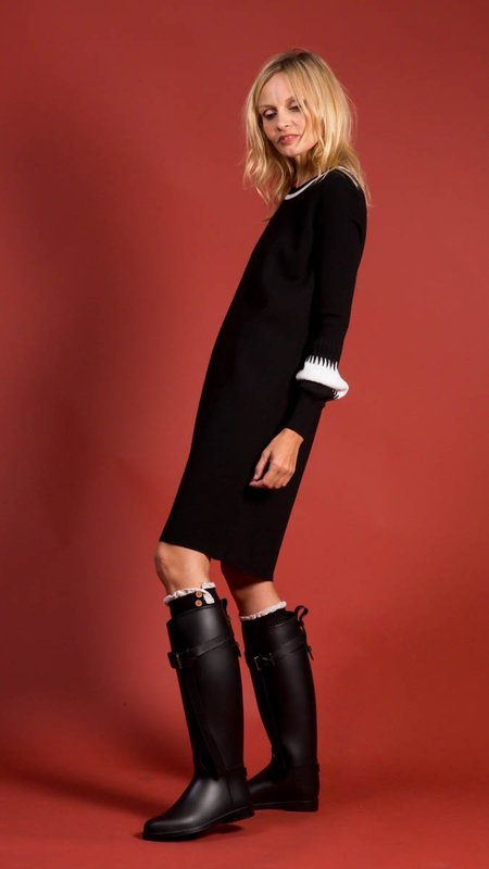 D.Exterior Crew Neck Knit Dress - Black/White Details