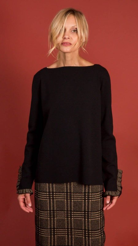 D.Exterior Crew Neck Sweater with Gold Detail on Sleeves - Black