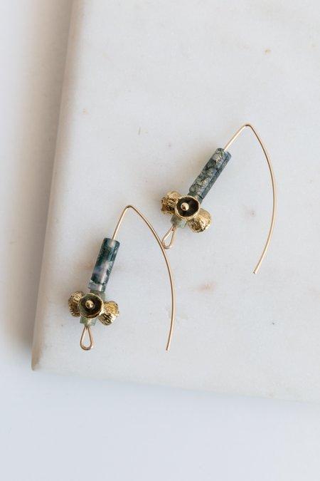Kirsten Muenster Moss Agate Bell Pod Earrings