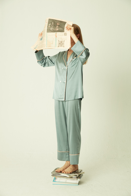 SANGLUO Double-breasted Silk Pajama Set with Embroidery