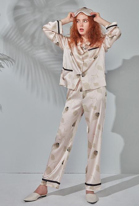 SANGLUO Silk Pajama Set - Floral Print