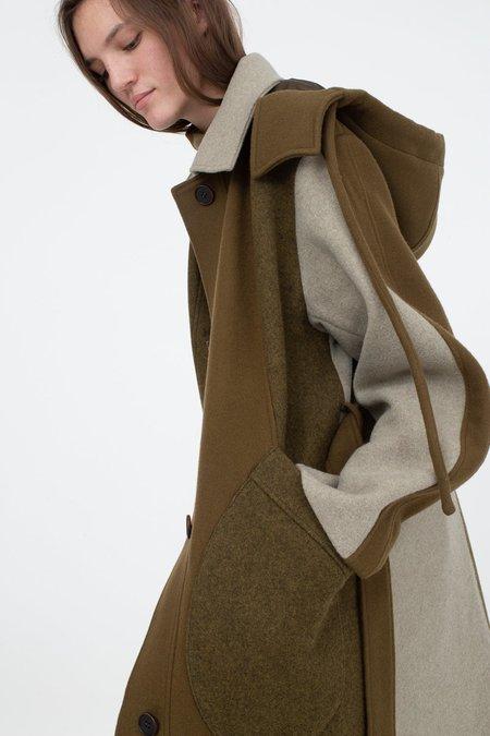 Rejina Pyo Charlie Wool Coat - Khaki Mix