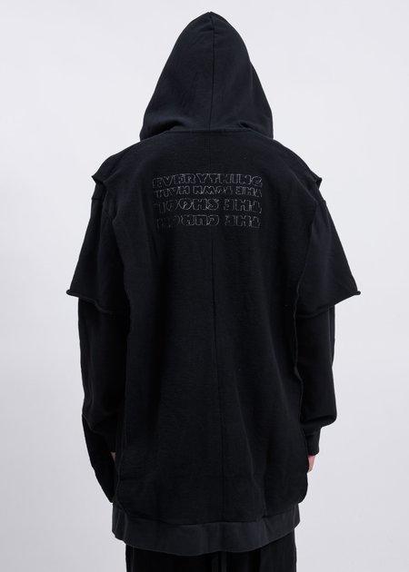 Komakino Grass Layered Fleece Hoodie - Black