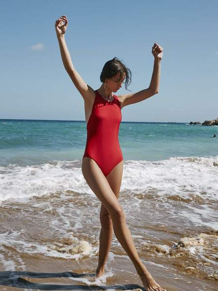 Kowtow Cross Back One Piece Swimsuit - Primary Red