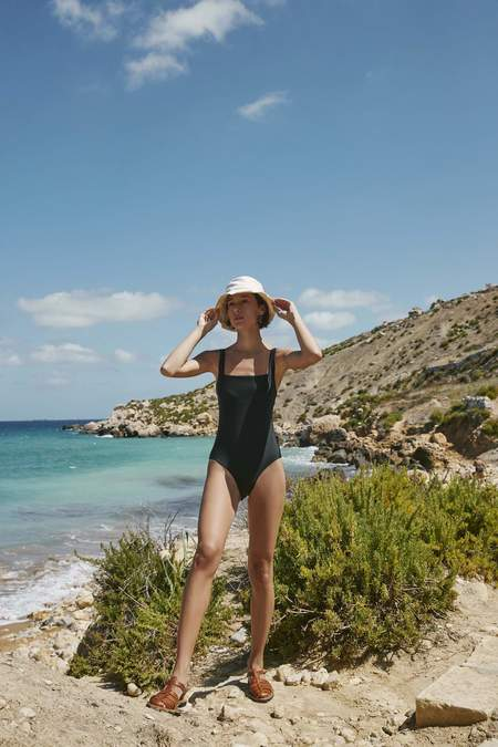 Kowtow Lines One Piece Swimsuit - Black